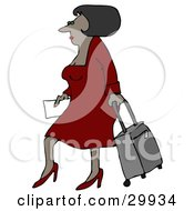 Clipart Illustration Of A Sexy Black Woman In A Red Dress And Heels Walking Through An Airport And Pulling Rolling Luggage Behind Her by djart