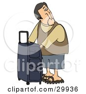 Clipart Illustration Of A White Man Checking The Compartments Of His Suitcase While Waiting To Board His Plane At The Airport