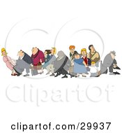 Clipart Illustration Of A Crowded Group Of Travelers Male And Female White And Black Children Men And Women With Luggage In An Airport by djart
