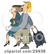 Clipart Illustration Of A Brunette Woman And Blond Man Walking Together Through An Airport With Rolling Luggage