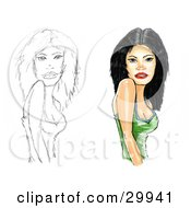 Clipart Illustration Of A Beautiful Blue Eyed Black Haired Caucasian Woman In A Green Tank Top Looking At The Viewer by Spanky Art