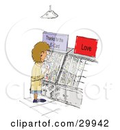 Clipart Illustration Of A Caucasian Woman Standing And Reading Greeting Cards Thanking Friends For E Cards
