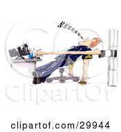 Clipart Illustration Of A Prisoner Stretching Their Arm And Typing On A Computer While A Lazy Cop Sleeps In His Chair Dropping His Donut On The Floor by Spanky Art