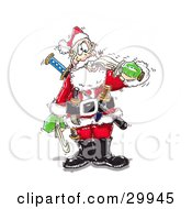 Clipart Illustration Of A Crazy Santa Biting A Sword With His Teeth Armed With Knives And Weapons