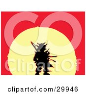 Clipart Illustration Of A Lost Warriors Black Silhouette Traced In Red Over A Yellow Sunset On A Red Background