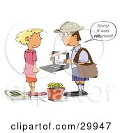 Clipart Illustration Of A Mailman Holding A Laptop With An E Card And Telling A Woman That It Was Returned To Sender by Spanky Art