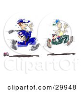 Clipart Illustration Of A Mischievous Graffiti Artist Running Away From A Cop by Spanky Art