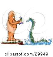 Clipart Illustration Of Bigfoot Standing On A Cliff And Reading To The Loch Ness Monster by Spanky Art