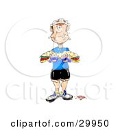 Clipart Illustration Of A Hungry Muscular Bicyclist Chewing A Big Bite Of A Tasty Sub Sandwich by Spanky Art