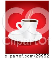 Hot Cup Of Steaming Coffee Or Hot Cocoa On A White Saucer Over A Red Background