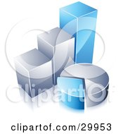 Clipart Illustration Of A Pre Made Logo Of A Blue And Silver Pie Chart And Bar Graph