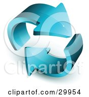 Clipart Illustration Of A Pre Made Logo Of Two Thick Blue Arrows Circling