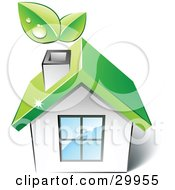 Clipart Illustration Of A Pre Made Logo Of A Green Home With Leaves Sprouting From The Chimney by beboy