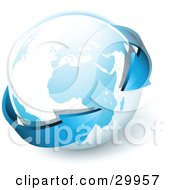 Clipart Illustration Of A Pre Made Logo Of Blue Arrows Circling Planet Earth