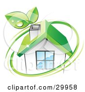 Clipart Illustration Of A Pre Made Logo Of Leaves And A Green Circle Over An Eco Friendly Home by beboy