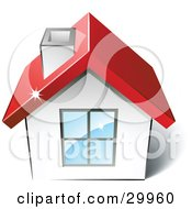 Clipart Illustration Of A Pre Made Logo Of A House With A Red Roof by beboy