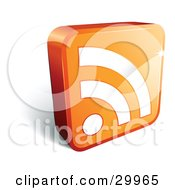 Clipart Illustration Of A Pre Made Logo Of An Orange Cube With A White RSS Symbol by beboy