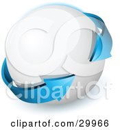 Clipart Illustration Of A Pre Made Logo Of A Double Sided Blue Arrow Circling A White Orb