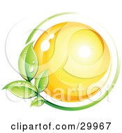 Clipart Illustration Of A Pre Made Logo Of A Green Leafy Vine Circling A Yellow Sphere