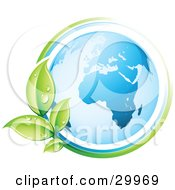 Clipart Illustration Of A Pre Made Logo Of A Vine Circling The Earth by beboy #COLLC29969-0058