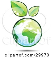 Clipart Illustration Of A Pre Made Logo Of Leaves Sprouting On Top Of A Globe by beboy