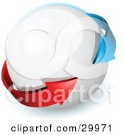 Clipart Illustration Of Pre Made Logo Of Blue And Red Arrows On A White Orb