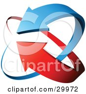 Clipart Illustration Of A Pre Made Logo Of Blue And Red Arrows Circling by beboy #COLLC29972-0058