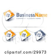 Clipart Illustration Of A Pre Made Logo Of A Large Window On A Home With Space For A Business Name And Company Slogan by beboy