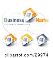 Clipart Illustration Of A Pre Made Logo Of A Large Window On A Home With An Orange Background And Space For A Business Name And Company Slogan by beboy