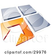 Clipart Illustration Of A Pre Made Logo Of An Arrow In An Orange Flooring Tile Beside Three Blue Tiles