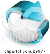 Clipart Illustration Of A Pre Made Logo Of A Blue Arrow Around A White Sphere