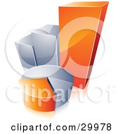 Clipart Illustration Of A Pre Made Logo Of An Orange And Silver Pie Chart And Bar Graph