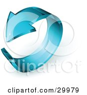 Clipart Illustration Of A Pre Made Logo Of A Blue Glass Arrow Circling