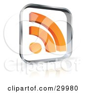 Clipart Illustration Of A Pre Made Logo Of A Glass Square With An Orange RSS Symbol by beboy