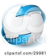Clipart Illustration Of A Pre Made Logo Of A Double Sided Blue Arrow Twirling Around A White Orb