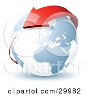 Clipart Illustration Of A Pre Made Logo Of A Red Arrow Circling Planet Earth