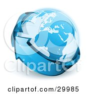 Clipart Illustration Of A Pre Made Logo Of Planet Earth Being Circled By A Blue Arrow