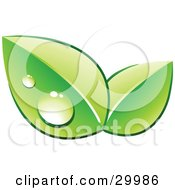 Clipart Illustration Of A Pre Made Logo Of Two Green Dew Covered Leaves