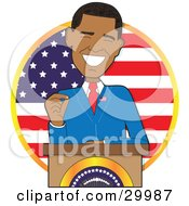 Clipart Illustration Of Barack Obama The First Black American President Smiling While Giving A Speech From Behind A Podium In Front Of A Flag by Maria Bell