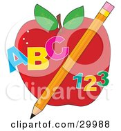 Educational Red Apple With A Yellow Pencil Abc And 123