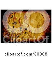 Clipart Illustration Of A Wrinkled Orange Background Bordered With Brown And Black Grunge And Flowers