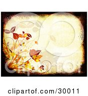 Clipart Illustration Of A Black And Brown Grunge Border Around An Orange Background With Autumn Grasses And Leaves