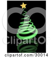 Clipart Illustration Of A Green Spiral Christmas Tree Topped With A Golden Star On A Black Reflecting Surface