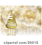 Clipart Illustration Of A Gold 3d Spiral Christmas Tree On A Reflective Golden Background With Snowflakes