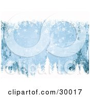 Clipart Illustration Of A Blue Grunge Background With Splatters Bordered By White Snowflakes And Tree Tops