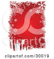 Clipart Illustration Of Two White Gifts With Red Ribbons Over A Red Background Bordered With White Snowflakes And Grasses