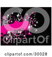 Clipart Illustration Of A Pink Grunge Text Box Bordered With White And Pink Flowers And Drips On A Black Background