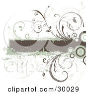 Clipart Illustration Of A Brown Grunge Text Box Bordered In Green With Circles And Vines