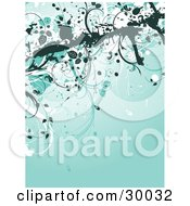 Clipart Illustration Of A Dark Grunge Border With Flowers On Tall Stems Over A Brownish Red Background