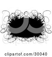 Clipart Illustration Of A Black Grunge Text Box Bordered By Curly Thin Grasses